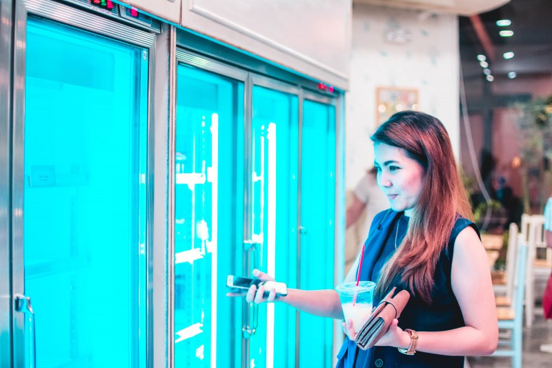 double door upright display fridge